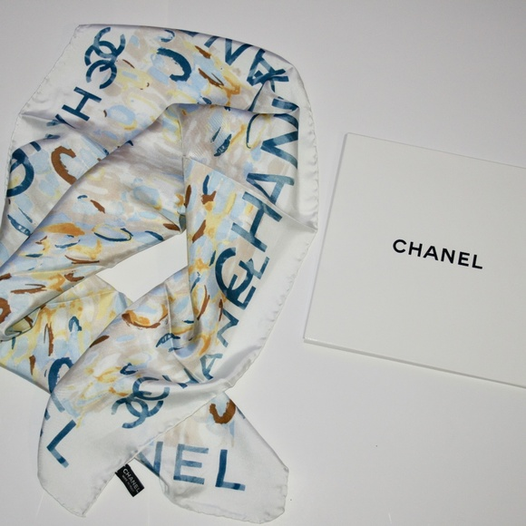 NWT 100% Authentic CHANEL Watercolor Floral Scarf
